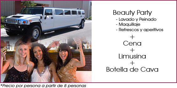 beauty party cena y limusina en madrid